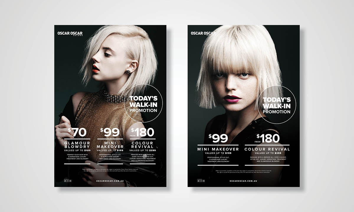 Oscar Oscar Salons Graphic Design - Printed Campaign components by Copirite