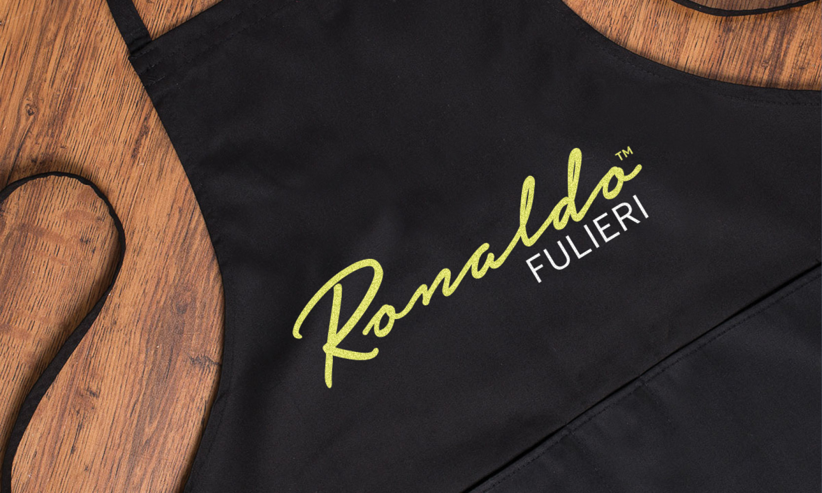 Branding design for Ronaldo Fulieri - logo embroidered on cooking apron